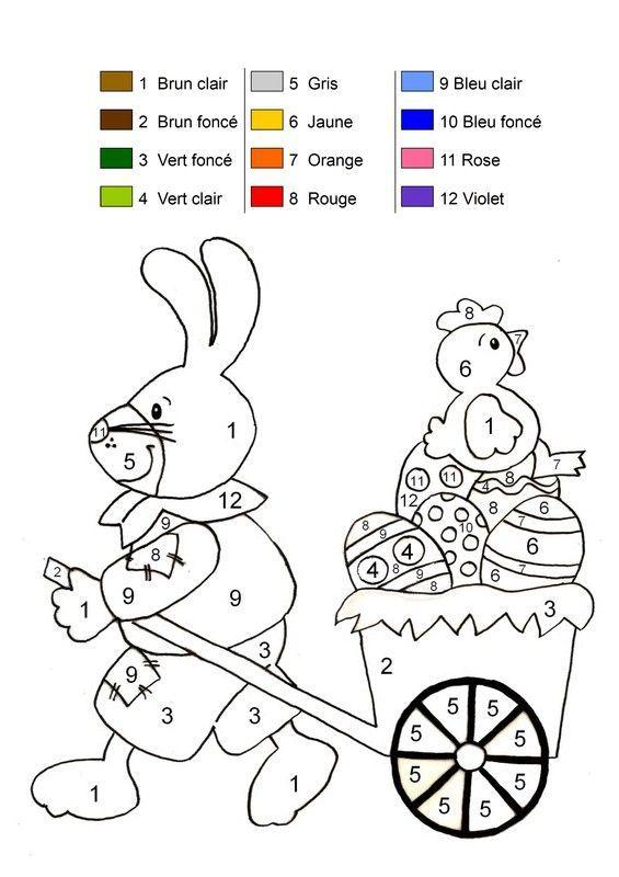 Coloriage magique - Coloriage lapin paques ...