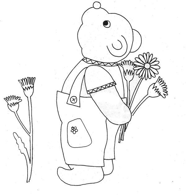 Coloriage - Petit ours et son bouquet