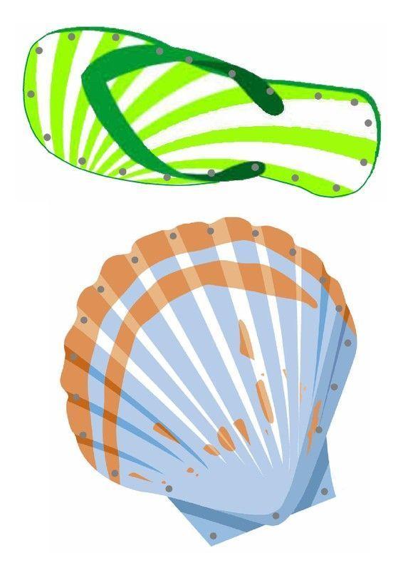 Gabarit coquillage et claquette de plage lacer - Bricolage avec coquillage ...