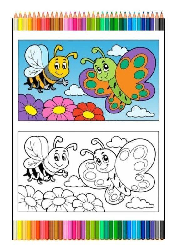 Coloriage Papillon Et Abeille.Coloriage Symetrique Abeille Et Papillon