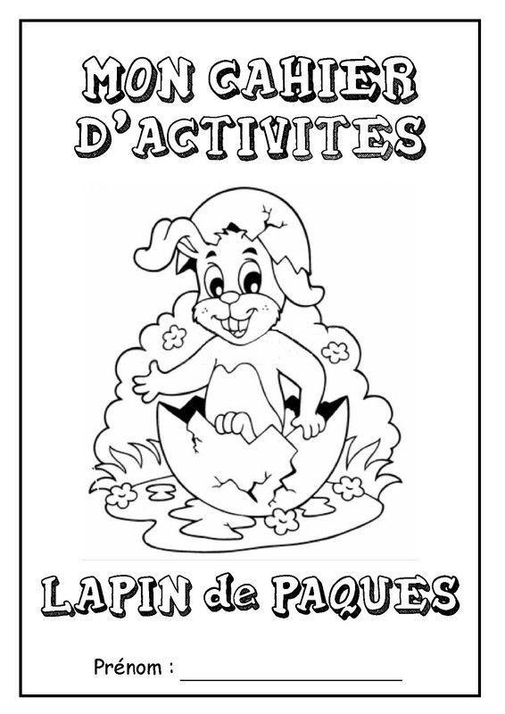 Page de garde cahier d 39 activit s le lapin de p ques - Activite manuelle elementaire ...