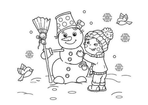 Coloriage enfant et bonhomme de neige - Coloriage enfant maternelle ...