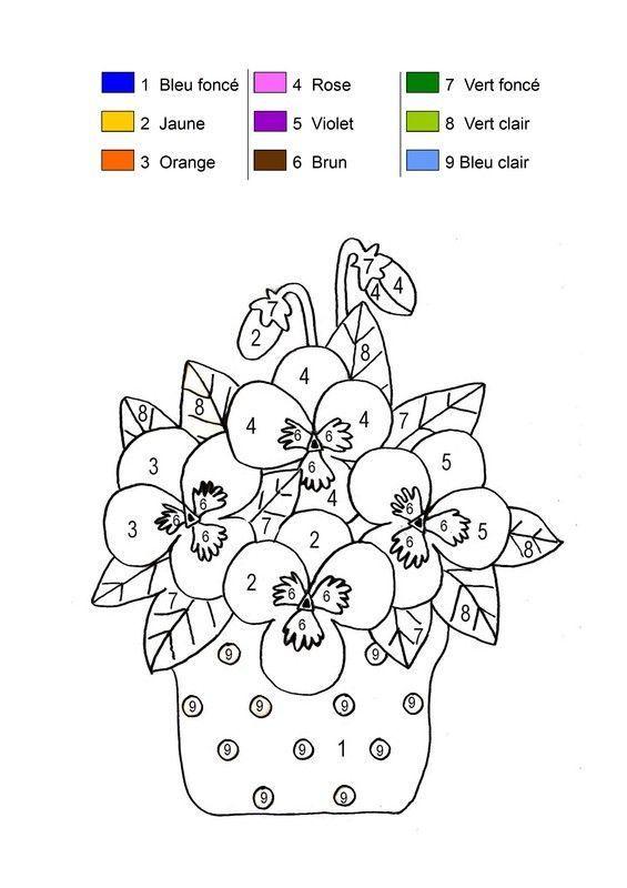 Coloriage magique pot de fleurs printanier - Coloriage magique maternelle ms ...