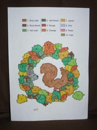 Ecureuil d'automne en coloriage magique
