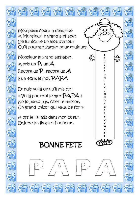 Carte po me pour la f te des papas - Poeme fete des papa a imprimer ...