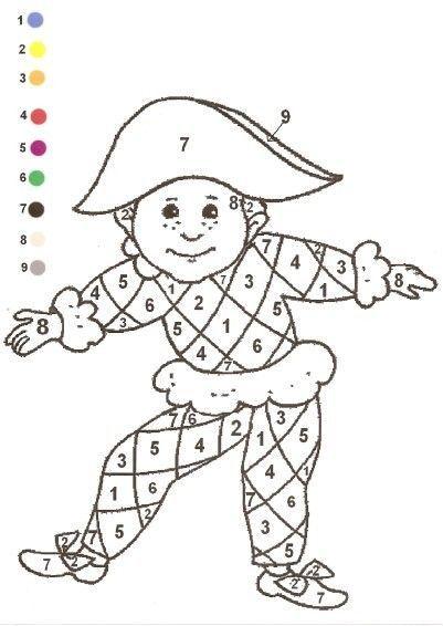 coloriage magique arlequin