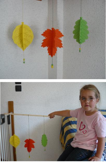 Mobile feuilles d 39 automne en 3d bricolage mobile d 39 automne - Bricolage feuille d automne ...