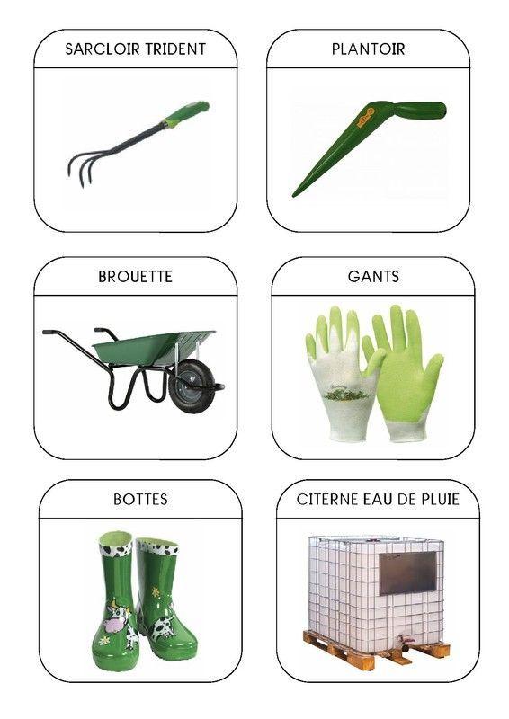 Imagier du jardin les outils 2 - Support pour outils de jardin ...