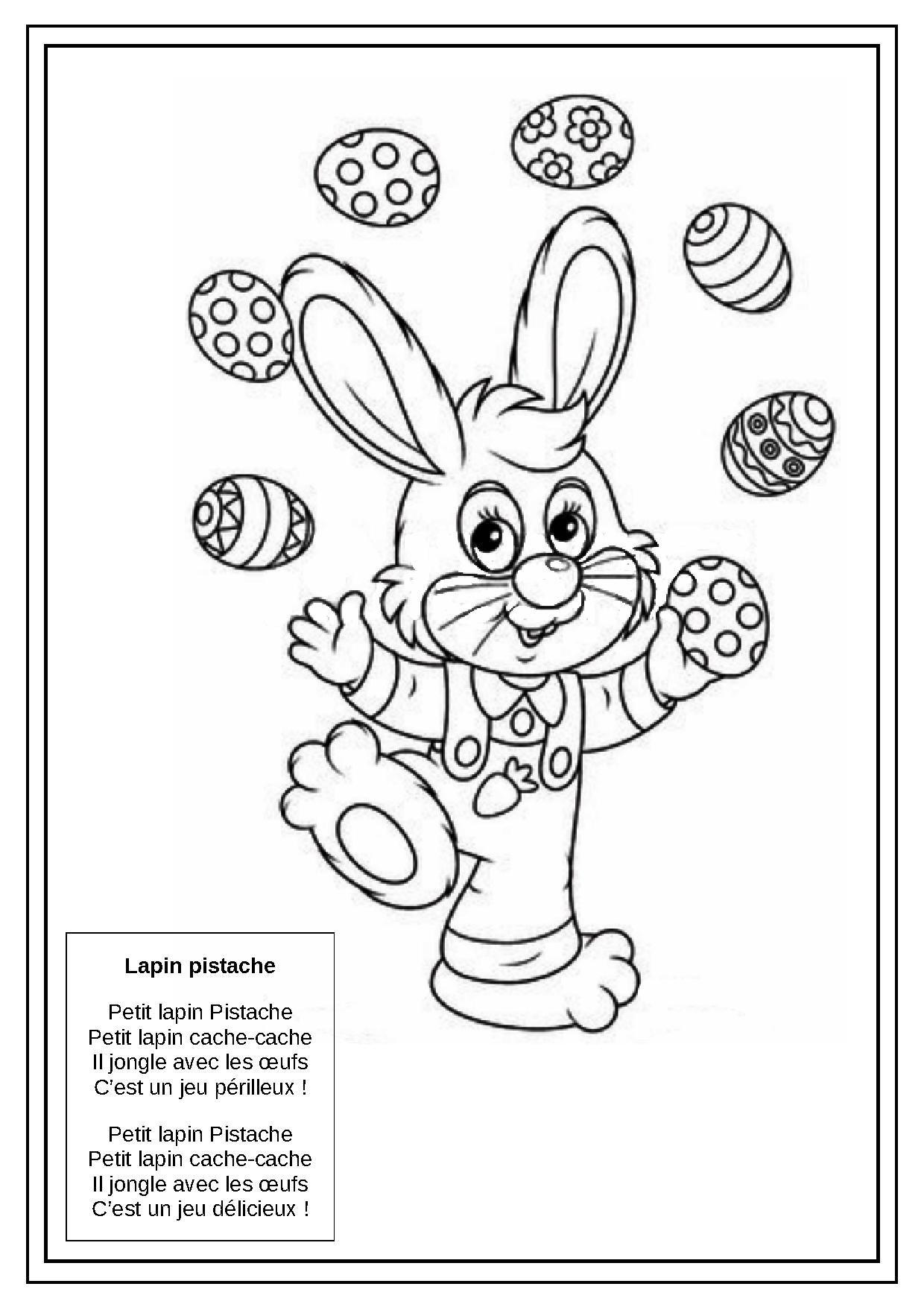 Comptine paques - Coloriage paques maternelle ...