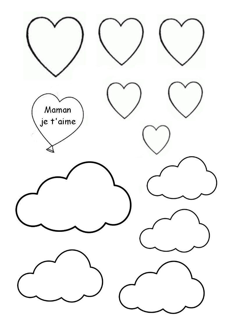 Gabarit d cor nuages et coeurs - Nuage en dessin ...
