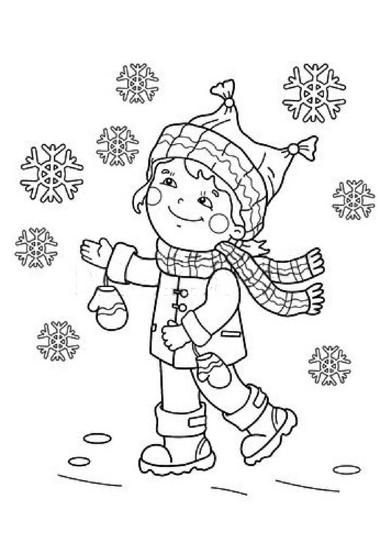 Coloriage enfant et flocons de neige - Enfants coloriage ...
