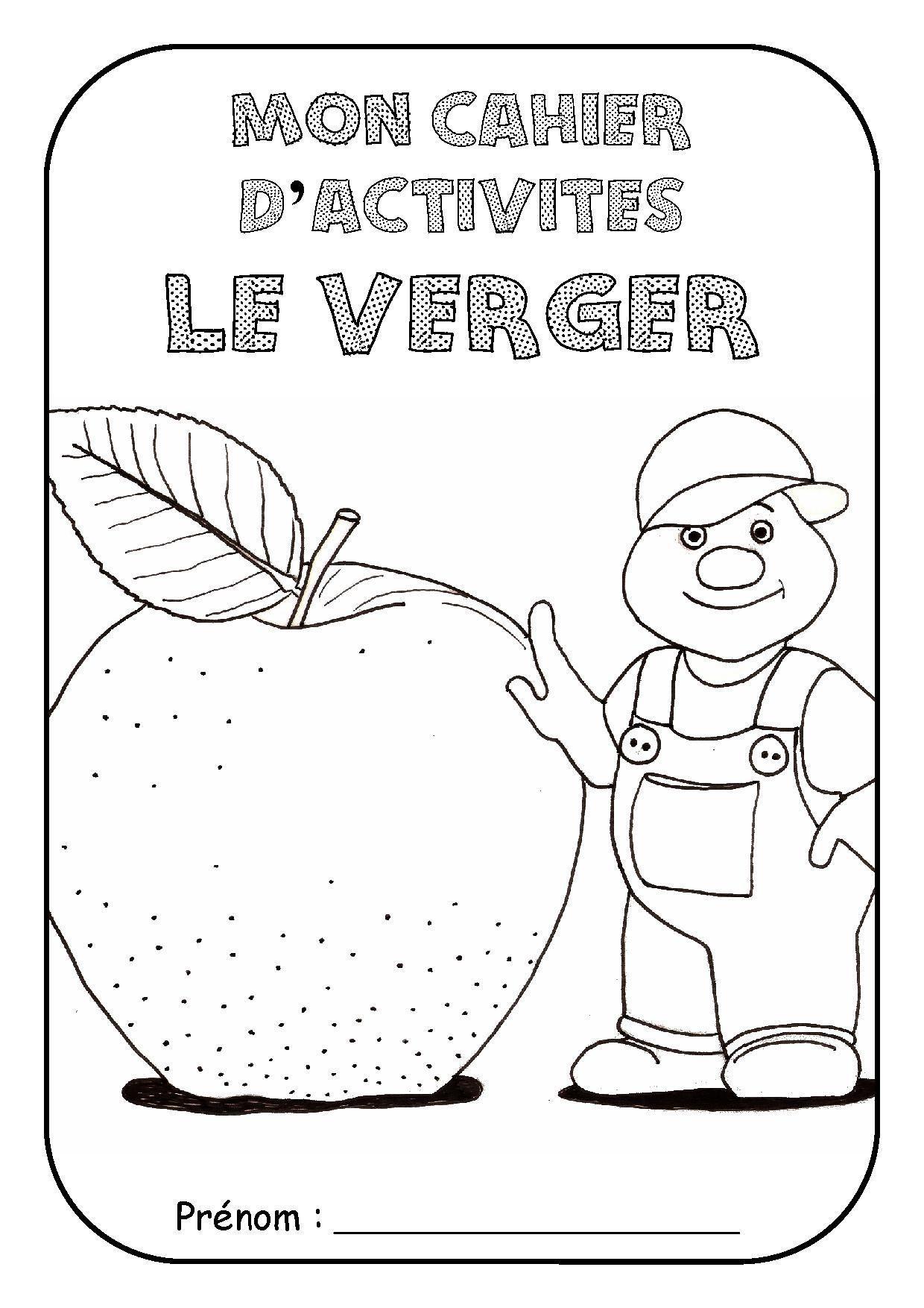 """Page de garde cahier d'activité """"Le verger"""""""