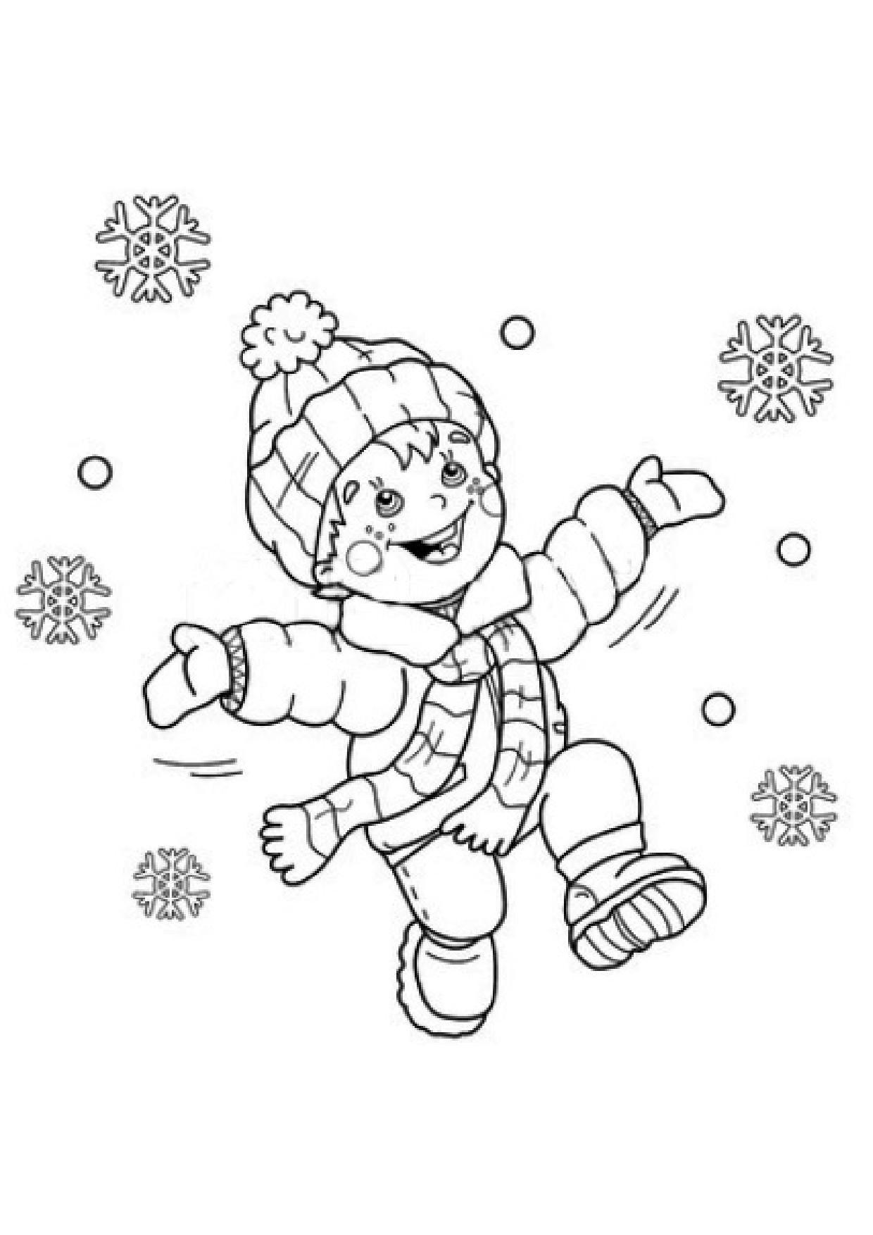 Coloriage Enfant Et Flocon De Neige