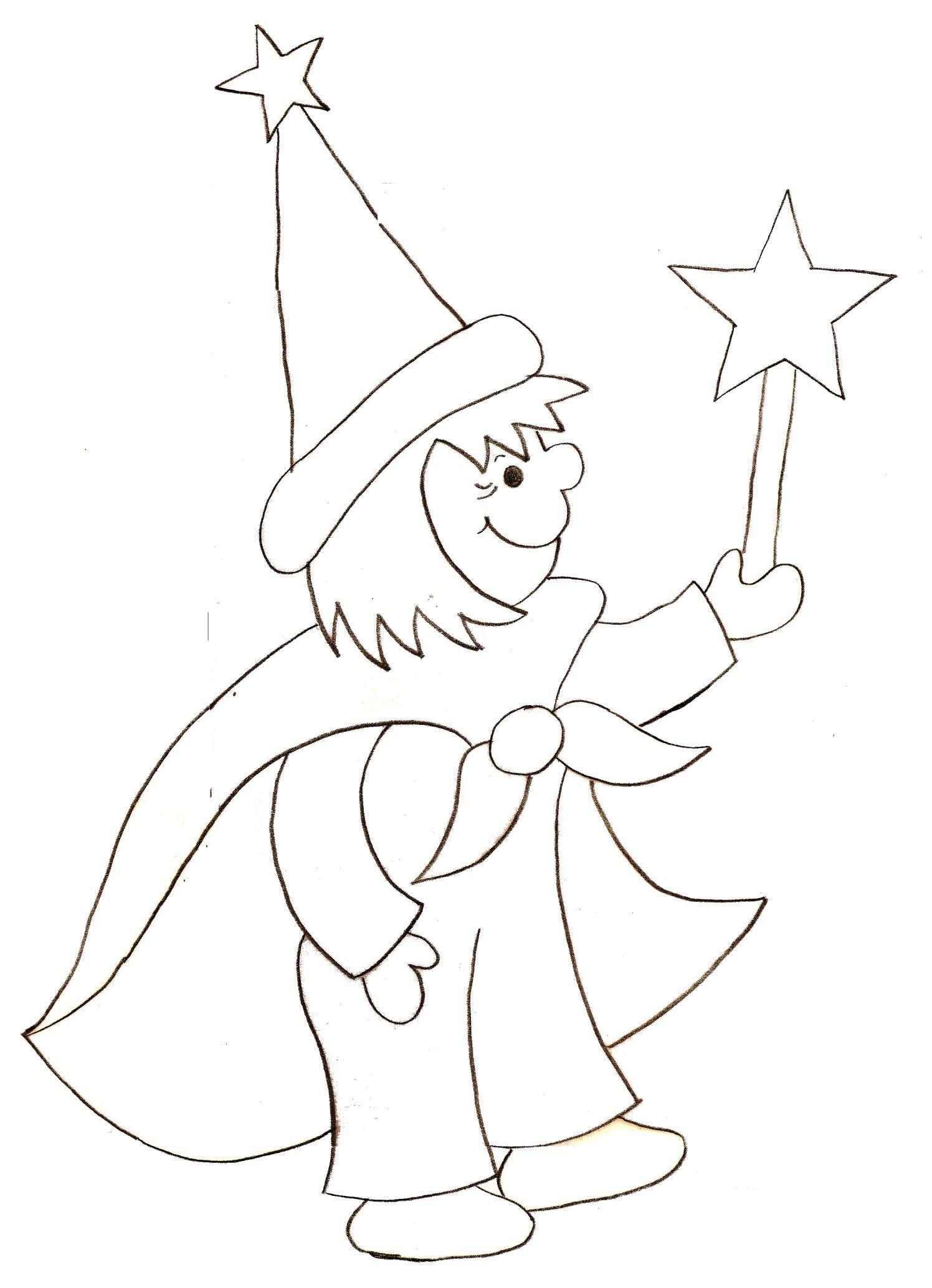 Coloriage feerique - Magicien dessin ...